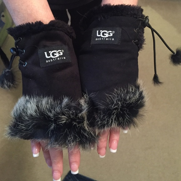 UGG black faux fur lined fingerless gloves