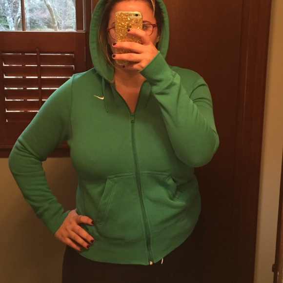 nike zip up hoodie womens green