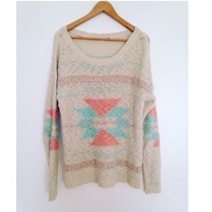 No label Sweaters - New tribal Aztec print oversized slouchy sweater L