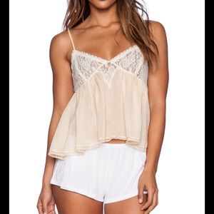 FREE PEOPLE SWEET LACE CAMI IN PALE PEACH