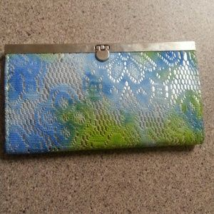 Handbags - Silver blue and green crochet lace clutch wallet