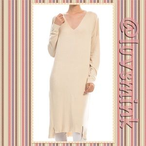 debut Dresses & Skirts - V NECK CASUAL TUNIC KNIT DRESS IN IVORY - M/L