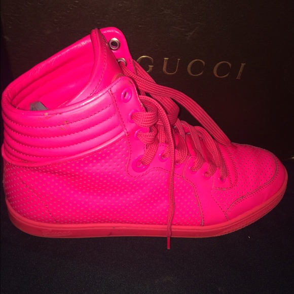 bdb934367a83 Gucci Shoes - Authentic neon pink Gucci sneakers