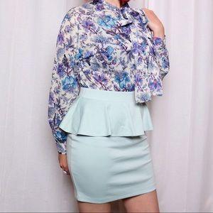 Forever 21 Skirts - Mint Peplum Skirt NWT