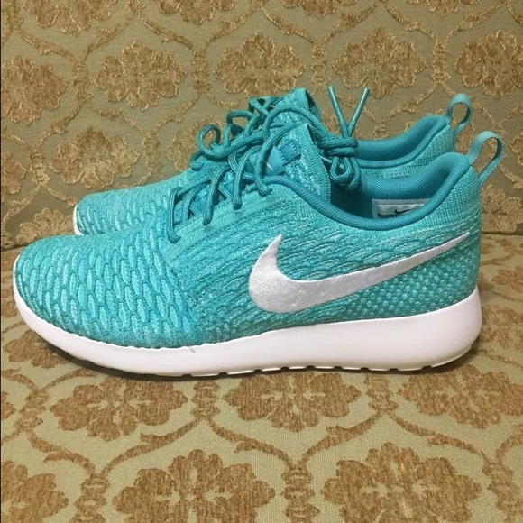 Nike Womens Roshe Flyknit Turquoise White