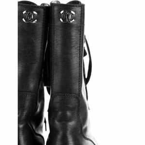 Chanel black leather short combat boots