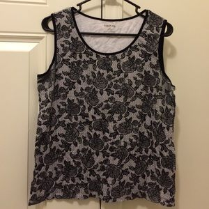 FIRM Lace and Rose Print Tank Top L