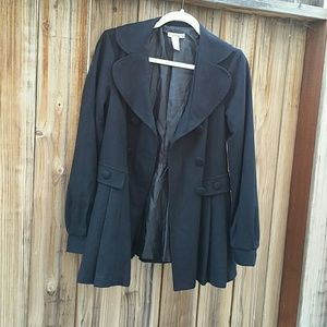 Black trench pea coat