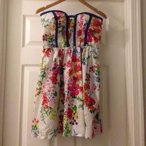 Strapless, cotton, floral dress.
