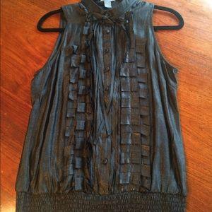 Black metallic sleeveless tuxedo blouse size large