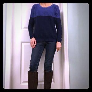 Blue color block sweater
