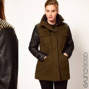 ⭐️ASOS Military Coat-Spike Shoulder leather sleeve