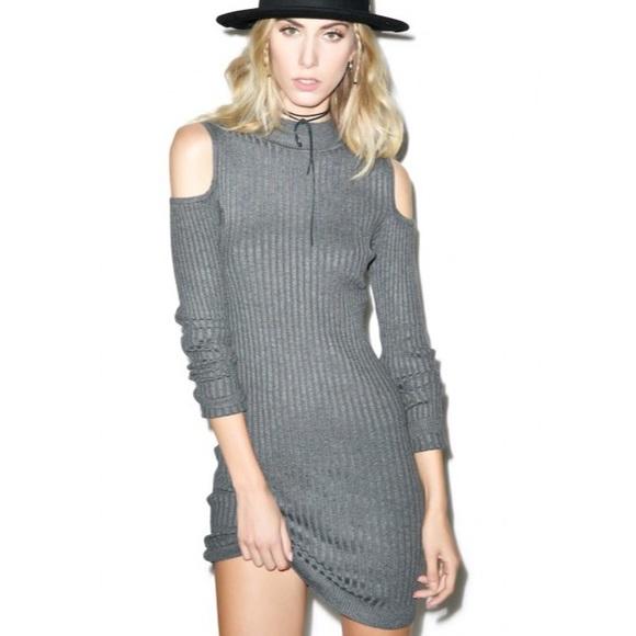 38% off Dresses & Skirts - Gray Mock Neck Ribbed Cold Shoulder ...
