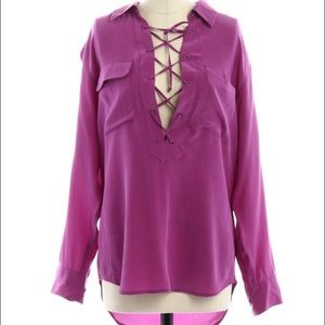 Final Equipment Knox Lace Up Blouse in Orchid XS