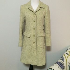 Moda International ▪️Green Herrin Wool Tweed Coat