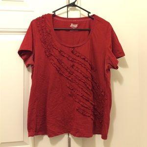 G H Bass Ruffle Detail Dark Red Tee Tshirt XL