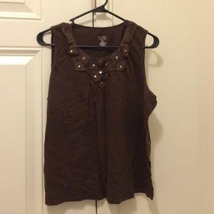 FIRM Merona Crochet Detail Brown Tank Top XXL
