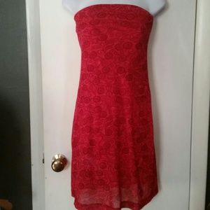 Express xs red strapless dress, like new!