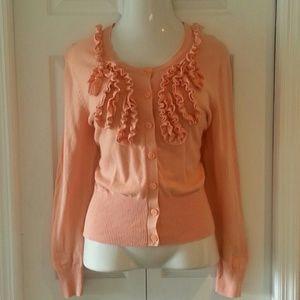 Van Heusen Sweaters - Peach ruffle cardigan XL