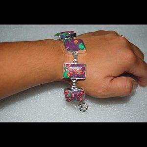 "handmade & handcrafted gemstone jewelry Jewelry - Purple Multicolor Howlite Bracelet 925S,7-8 1/2"""