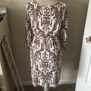 Brown and white paisley dress