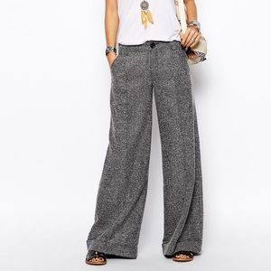 Free People Wide Leg Tweed Trousers - Size 8