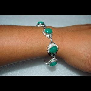 """handmade & handcrafted gemstone jewelry Jewelry - Pretty Green Onyx Bracelet 925Silver Length 7""""-8"""""""