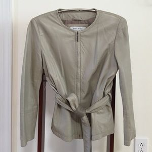 Zara Beige Leather Jacket Size Small