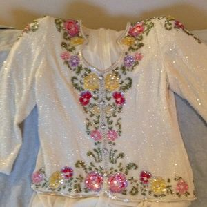 Dresses & Skirts - REDUCED!  Beaded cream colored dress