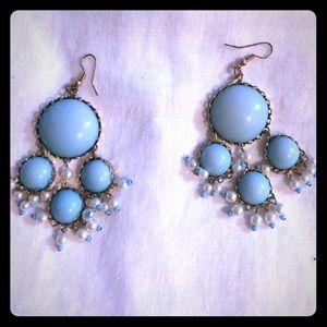 New in Box blue chandelier earrings