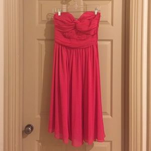 Pink Strapless Midi Party Dress