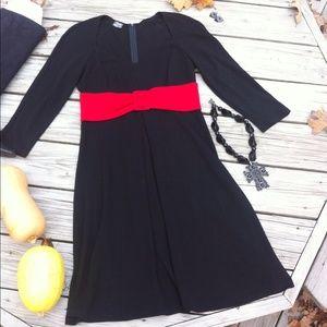 muse Dresses & Skirts - Muse knit dress black red faux belt Sz 8 classic!