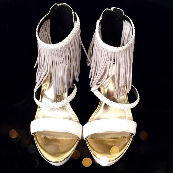 Leather Fringe White Gold Heels Pumps