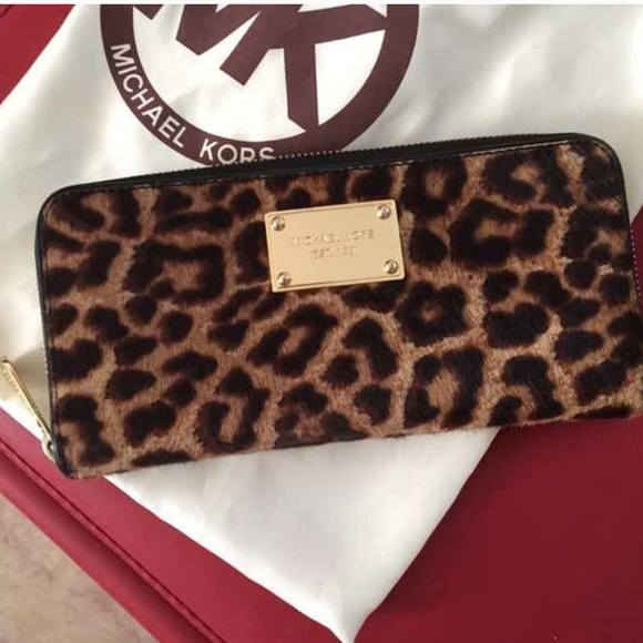52a5270bdf61 ... shop michael kors leopard calf hair wallet 70354 9e6bb