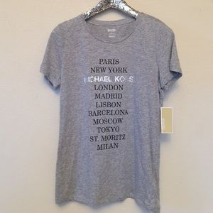 Michael Kors Cities Logo Tee, Size Medium