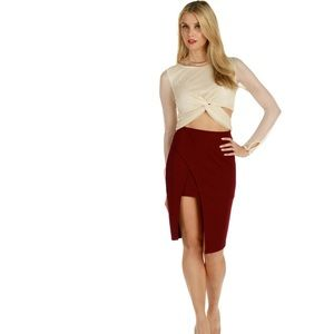 Burgundy Title Pencil Skirt Medium