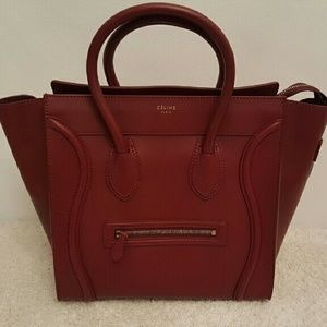 Celine Handbags - Celine Mini Luggage Bordeaux Red