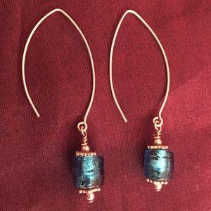 Jewelry - Beautiful Blue Venetian Glass Bead Earrings