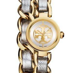 Tory Burch 'Mini Reva' Double Wrap Chain Watch