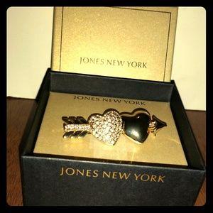Jones New York Double Heart Brooch