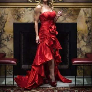 Dresses & Skirts - Custom designed red formal gown with train