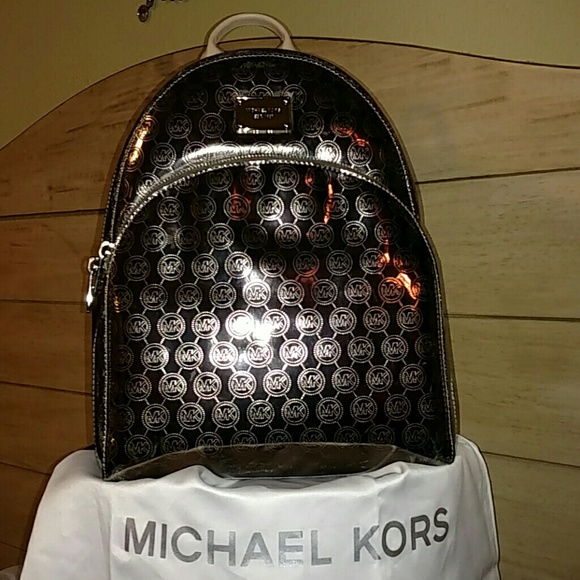 a95820b206e21b ... discount supersale michael kors lg nickel metallic backpack 3a76d 0db87  ...