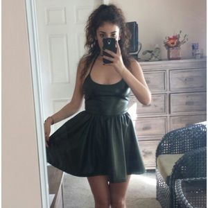 American Apparel Dresses & Skirts - Black faux leather American Apparel Skater Dress