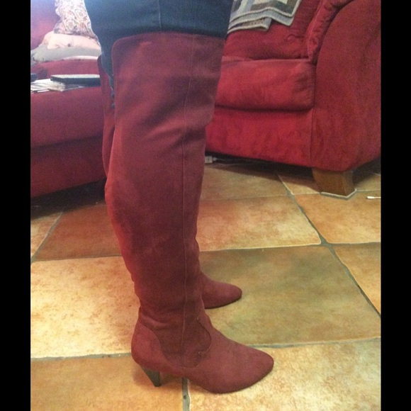 The Knee Red Suede Heeled Boots   Poshmark