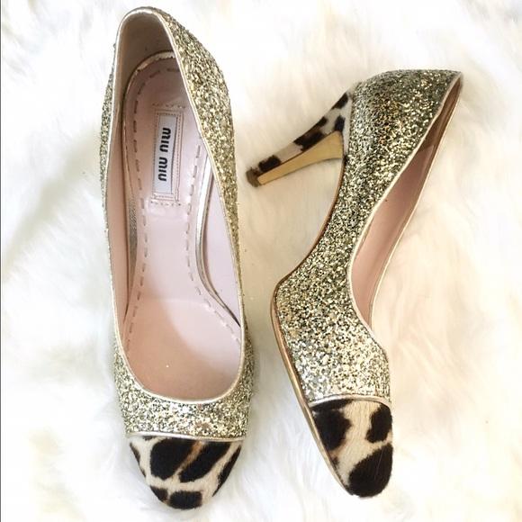 e5f11d22dc0b Miu Miu Gold Glitter & Leopard Toe Heels Pumps 38.  M_5659d8dafeba1f617501ec28