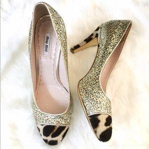 Miu Miu Gold Glitter & Leopard Toe Heels Pumps 38