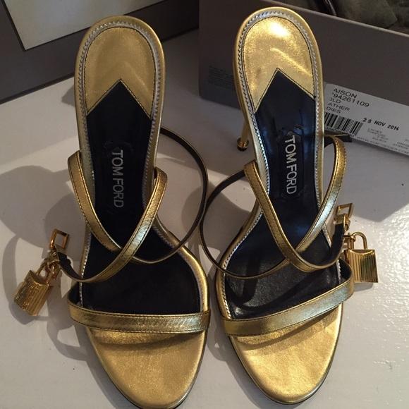 f70ce642ef TOM FORD Gold Metallic Ankle-Lock Sandal. M_5659ea57713fde43cc001869