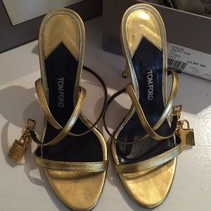 13320b0b5b5f59 Tom Ford Shoes - TOM FORD Gold Metallic Ankle-Lock Sandal
