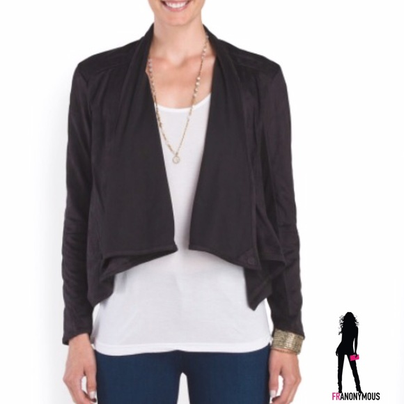 Athena Marie Jackets & Blazers - Black Faux Suede Drape Jacket
