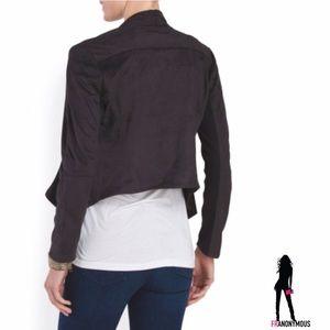 Athena Marie Jackets & Coats - Black Faux Suede Drape Jacket